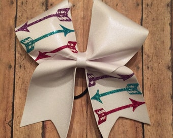 White Cheer Bow with Glitter Arrows