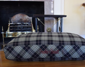 Dog Bed * Green and Black Plaid * Murphy * Rectangular Pillow * Medium Large * Custom Cover * Limited Edition * Personalize with Pups Name *