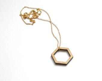 Sautoir géométrique en bois, collier hexagone chic minimaliste et moderne, bijou contemporain, cadeau femme design, fabriqué en France Paris