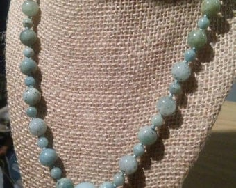 Aquamarine and Azumar Reiki Crystal Necklace Knotted on Silkon Thread