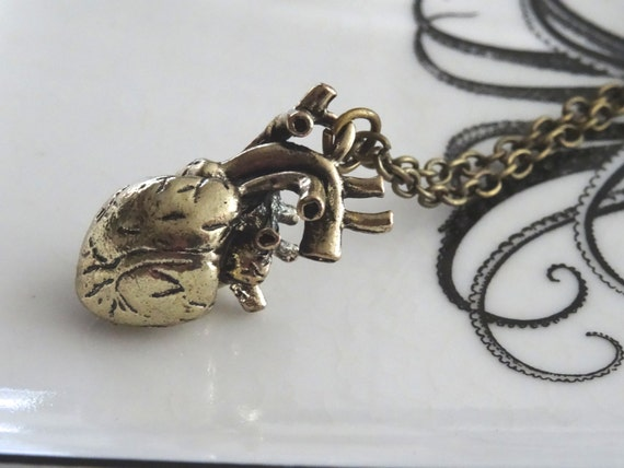 Human Heart Necklace 3D Double Sided Anatomic Body Part