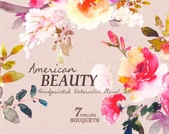 Watercolour Floral Clipart. Handmade, watercolour clipart, wedding diy elements, flowers, wedding invitation clipart, DIY - American Beauty