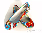 Supergirl Flats- Comic Design- Choose Your Style- Wedding- Geek-Bride- Bridal Shoes- Prom-Graduation- Gift- Custom-Superhero