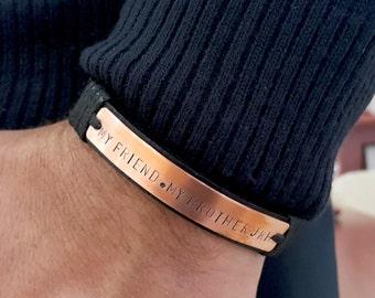 Mens Custom Coordinates Leather Bracelet Hand Stamped Copper Plate Jewelry Personalized Message GPS Latitude Longitude Bracelet Mens Gift