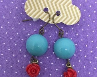Vintage turquoise rose earrings