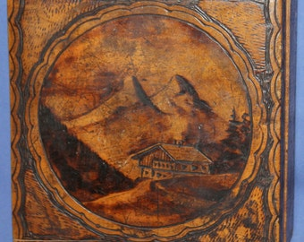 Antique Pyrography Wood Box Mountain Landscape
