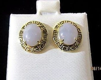 Lavender Jade 14k Gold Earrings 1.6G EA. JP5492