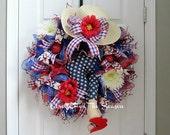 Summer wreath, patriotic wreath, booty wreath, deco mesh wreath, bikini butt wreath, red white and blue wreath