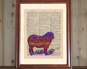 Sheep Dictionary Print, Ram Dictionary Print, 3D Colorful Sheep Print, Sheep Drawing, Sheep Wall Art, Ram Print on 5x7 / 8x10 Canvas Panel
