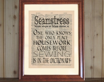 Seamstress Dictionary Print, Sewing Room Decor, Sewing Quote, Funny Sewing Saying, Seamstress Gift, Sewing Print on 5x7 or 8x10 Canvas Panel