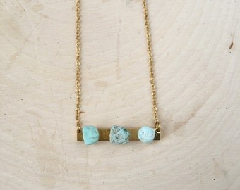Crystal Necklace, Malachite Bar Necklace