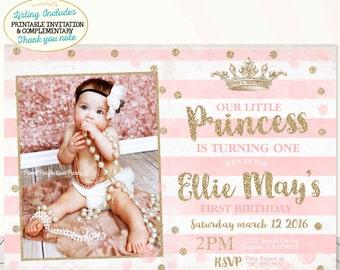 Princess Birthday Invitation Pink Gold Vintage Princess Crown invitation Polka Dot Pink Gold Princess Crown Party Princess 1st Birthday