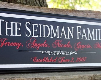 Family sign-wood-gift for parents on wedding day-family established plaque-gift for family wood established sign-for wife-custom last name