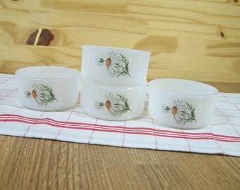 Set of  4 ramekins ARCOPAL France daisy pattern |   3.25 inches  | Kitchen French vintage 1970