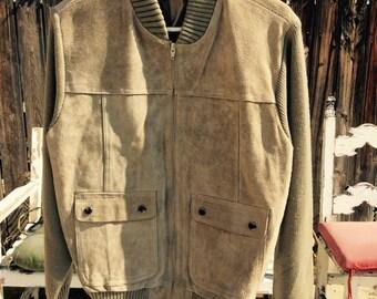 Vintage Men's Medium Sweater Jacket. Beige. Oakton Suede.