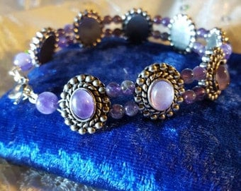 Bracelet,Genuine, Amethyst,Beaded. Healing,Protects,Psychic, Spiritual,Cleansing, Meditation,Spells,Pagan, Wiccan, Magical,  Talisman,Calms.