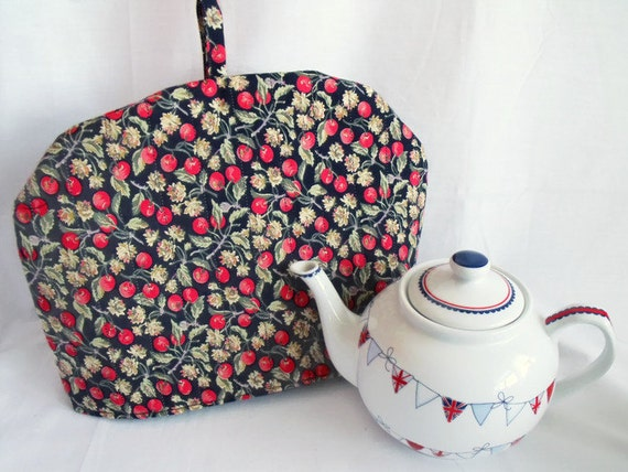 """quilted fabric tea cozy, lined tea pot warmer, kitchen decor, cotton fabric cosy, navy and red fabric, 12.5"""" wide x 9"""" high"""