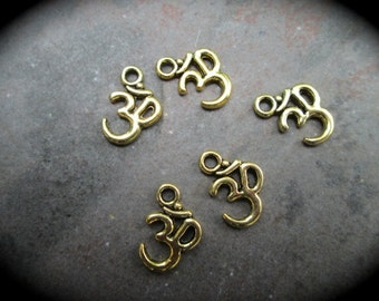 Small Om symbol Charms in Antique gold finish package of 5 charms perfect for adjustable bangle  bracelets Yoga charms Om charms
