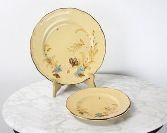 Vintage Dinner & Salad Plate - Franciscan Dinnerware - Bouquet w/ Tan Background - 10.5 in - 8 in - Vintage Home Decor - Majolica