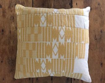 Vintage Yellow African Aso Oke Pillow