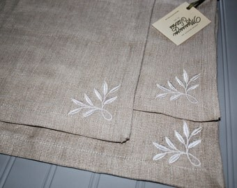 Set of Placemats - Embroidered Placemats - Leaves Placemats