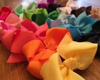 "3"" Grosgrain Ribbon Boutique Hair Bows with Alligator Clips"