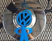 Vintage VW Hubcap Hand Painted Pinstriping Art, VW Guy, VW Art, Hubcap Art, Vintage Hubcap