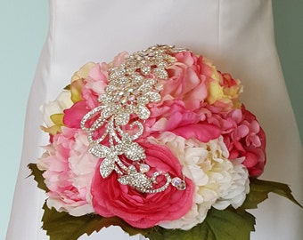 Ready to ship, Bling, pink and white floral bouquet