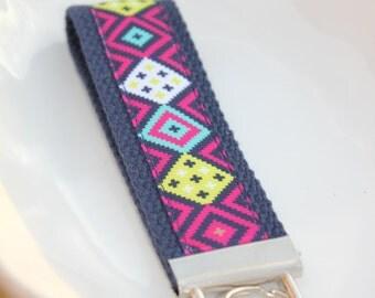 Aztec ribbon keychain, Native print keyring, pink and navy key fob, Aztec keychain, Ribbon keychain, navy and pink keychain, ribbon keyring,