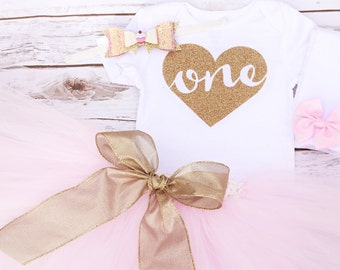 Baby Girl Gold and Pink First Birthday Glitter One Heart Onesie Outfit With Matching Tutu, Glitter Hair Bow, and Leg warmers