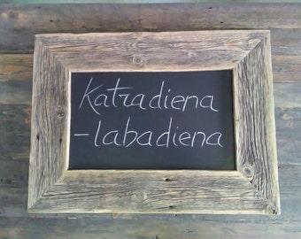 Reclaimed Wood Chalkboard, Wooden Framed Blackboard, Framed Menu Sign, Rustic And Industrial Reclaimed Barn Wood Furniture