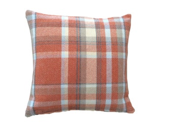Skye tartan check faux wool burnt orange terracota beige scatter cushion cover hand made in Britain