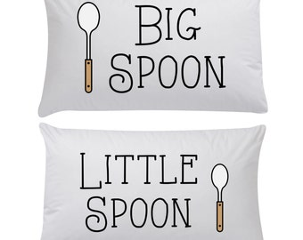 Big Spoon Little Spoon Pair of Pillow Cases ~ Valentines Gift