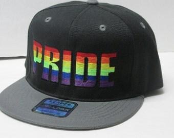 "LGBT ""PRIDE"" Embroidered Black/Gray Flat Bill Snap Back"