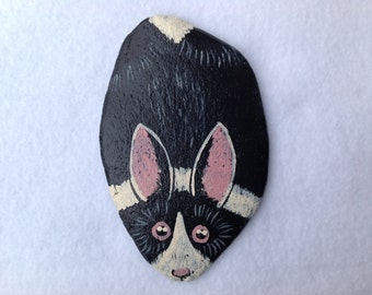 SALE, Dutch Rabbit Painted Rock Paperweight, Office Supply, Office Decor
