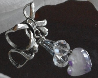 Silver Bow Scarf ring with amethyst and Swarovski crystal