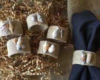 Burlap sea shell napkin rings/ napkin rings/ sea shell rings/ wedding gift/ hostess gift/ thank you gift/ rustic napkin rings/ beach decor