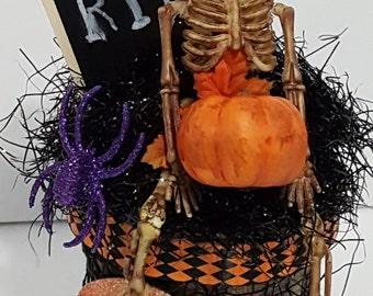 Halloween Skeleton Altered Peat Pot