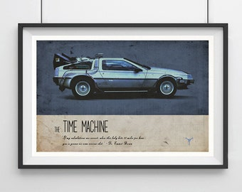 BACK to the FUTURE, Time Machine, DeLorean Inspired Minimalist Movie Poster Print 13 x 19""