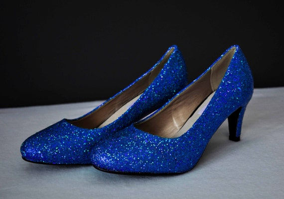 Royal blue wedding shoes royal blue glitter shoes blue wedding | Etsy