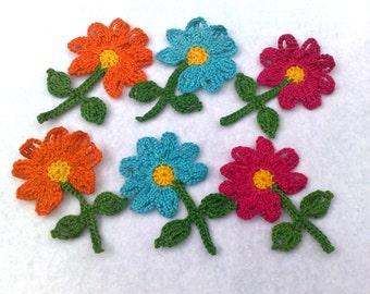 Set of 2 flowers applique Small flowers  Handmade flowers Crocheted  flowers Multicolored flowers Orange  flowers
