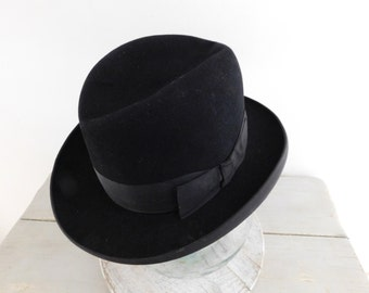 French vintage Fedora  FLECHET hat  Black felt hat   Homburg  Hat with owners' initials  G.B. initials
