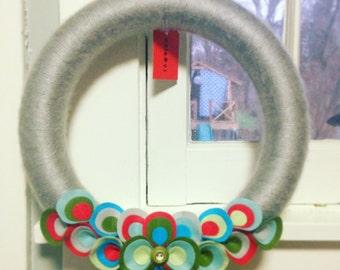 Yarn Wrapped Felt Holiday Wreath, Red, Green, Blue, Gray