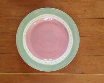 Polka Dot Hand Painted Dinner Plate