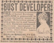 Original 1902 Bust Enhancer Ad, Matted Ad for Unique Home Decor, self-help quack cure for unusual gift, bust developer ad, quirky gift