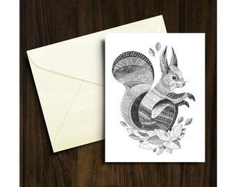Squirrel Christmas Card A6