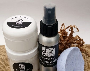 Lavender Spa Set! Hand-whipped Body Butter, Sea Salt Scrub, Bath Bomb, Body Mist! Great Gift Set
