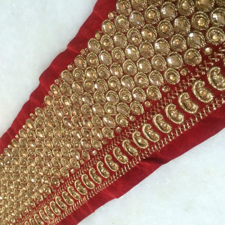 Decorative Fabric Trim Red Saree Border Bollywood Kundan Embroidered Trim Fabric