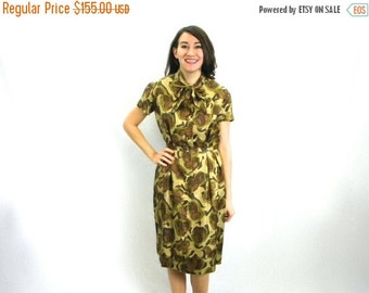 Summer SALE 50s Olive Green Floral Dress | Silk Shirtwaist Dress | Medium