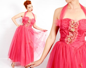 50s Magenta Tulle Evening Dress | Pink Tulle Party Dress | Pink Prom Dress | Medium